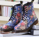 Rose Printed Martin Boots