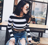Cut Shoulder Knitted Striped Top
