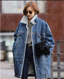 Long Denim Coat With Sherpa Lining