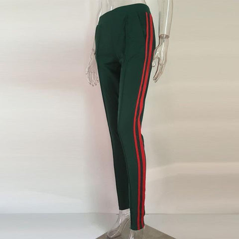 Green And Red Pleated Trousers