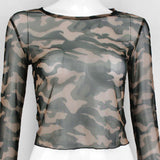 Camouflage Transparent Mesh Top