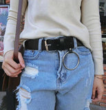 Leather Grunge Belts With Steel Ring