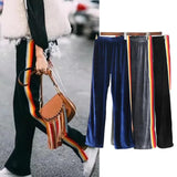 Velvet Rainbow Striped Trousers