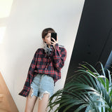 Flannel Plaid Hooded Long Sleeve Shirt