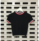 Vintage Crop Turtleneck Knit Tee