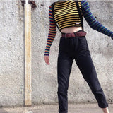 Multi Colored Knitted Striped Cropped Top
