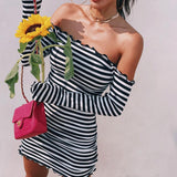 Ruffled Shoulder-less Striped Dress