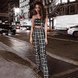 Plaid Two Piece Tube Top Trouser Set