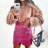Pink PU Leather Skirt