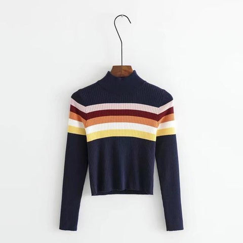 Rainbow Knitted Turtleneck