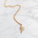 Golden Rose Charm Necklace On Rope Chain
