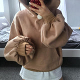 Puff Sleeve Oversized Camel Hoodie