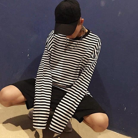 Oversized Long Sleeve Striped Shirt