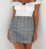 Plaid Mini Skirt With Chain