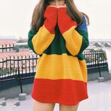 Rainbow Knit Oversized Sweater