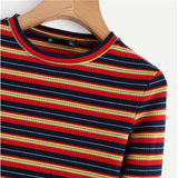 Ribbed Vintage Striped Long Sleeve Top