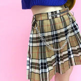 Plaid Skirt With Chain