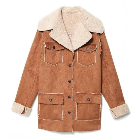 Suede Lamb's Wool Sherpa Teddy Jacket