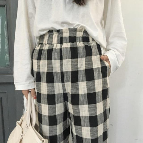 Plaid Wide Leg Weekend Pants