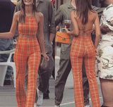 Orange Plaid Top & Trousers Two Piece Set