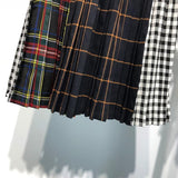 Deconstructed High Waist Multi Plaid Skirt