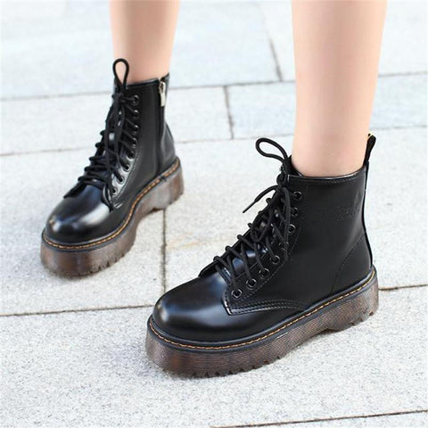 Platform Zip Up Vegan Leather Combat Boots