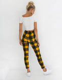 High Waisted Plaid Trousers