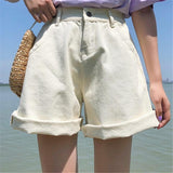 High Waisted Creme Denim Shorts