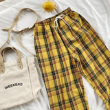 Yellow Plaid Straight Leg High Waisted Trousers