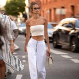High Waisted White Zipper Trousers