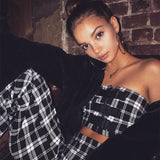 Plaid Buckled Tube Top