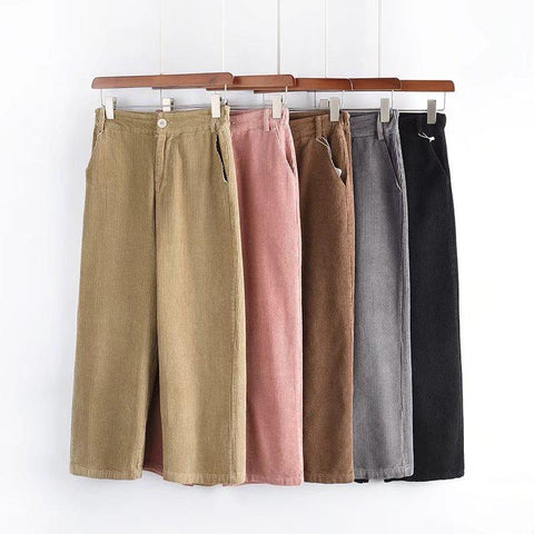 High Waisted Corduroy Straight Leg Trousers