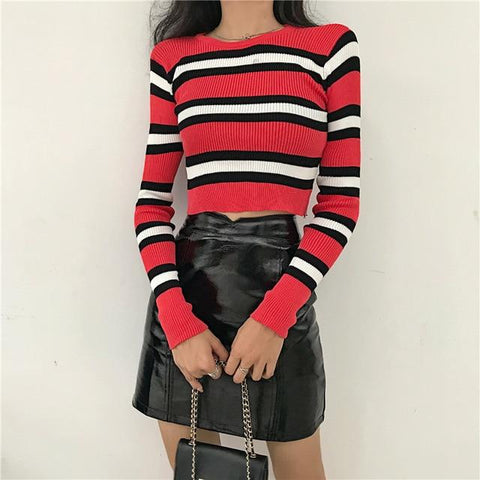 Striped Ribbed Racer Sweater