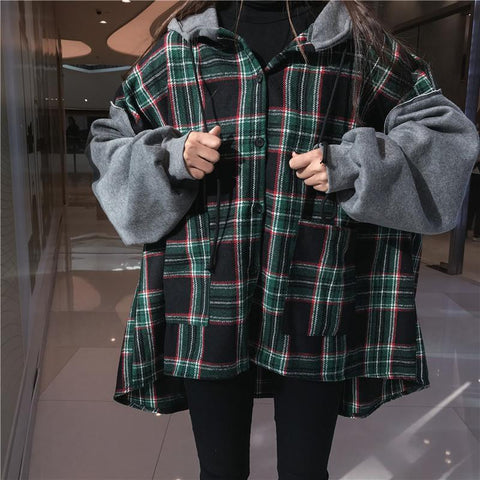 Plaid Oversized Drop Shoulder Hoodie