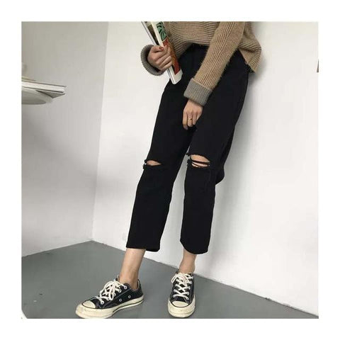 High Waisted Cut Knee Ankle Jeans