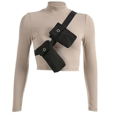 Khaki Turtleneck With Detachable Tactical Shoulder Bags