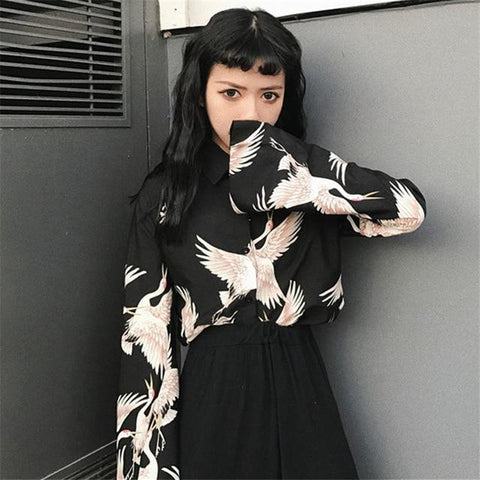 Printed Oriental Crane Button Up