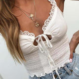 Ruffle Trim White Lace Top