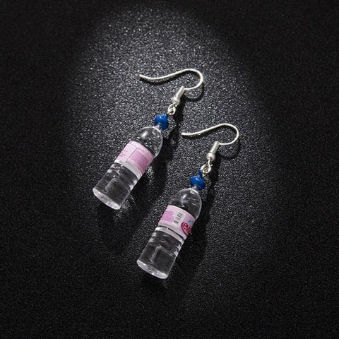 Evian Water Bottle Earrings