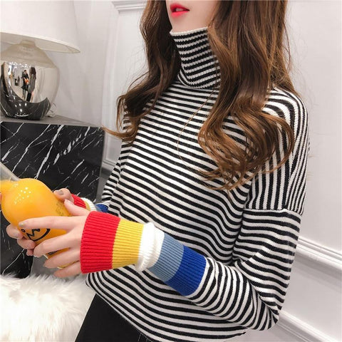 Rainbow Cuff Turtleneck Sweater