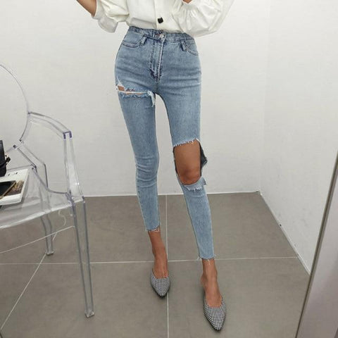 High Waisted Cut Knee Distressed Jeans