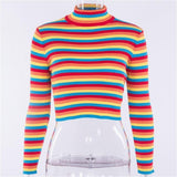 Ribbed Rainbow Turtleneck Sweater