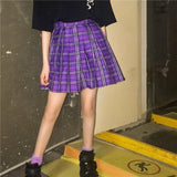 Purple Pleated Plaid Mini Skirt