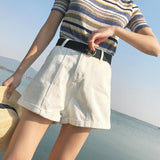 High Waisted Pleated Denim Shorts