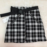 Plaid Mini Zip Up Skirt
