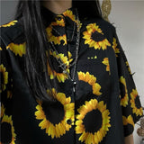 Oversized Sunflower Button Up Tee