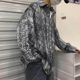 Snake Skin Printed Oversized Button Up Shirt