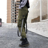 High Waisted Cargo Pants With Detachable Caution Straps