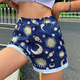 Sun Moon Stars Printed Denim Shorts