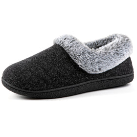 Women's Cozy Memory Foam Slippers with Plush Faux Fur Collar